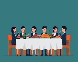 Business team dining together. Vector illustration celebration  and meeting concept. Big company family, Eating together, Cartoon character flat style design