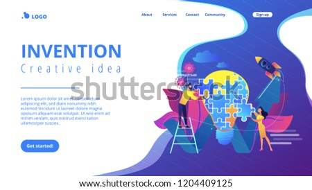 Business team doing lightbulb from jigsaw puzzle and rising arrow. Creative idea and insight, notion, invention concept on white background. Website vibrant violet landing web page template.