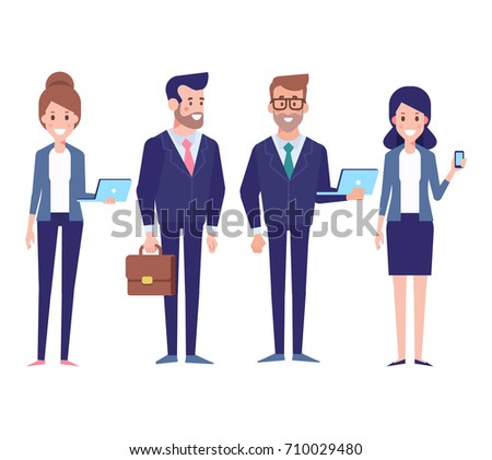 Business team flat vector Illustration. Male and female characters isolated on white.
