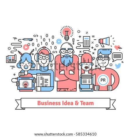Business team gathered around leader with creative idea. Designer, web developer, pr and marketing specialists teamwork. Thin line art icons collage. Linear illustration.