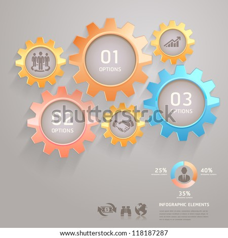 Business Team Gears Infographics Number Options for Banner & Card. Vector illustration