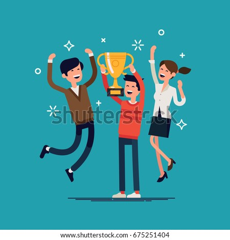 Business team goals. Cool vector illustration on casually clothed group of people celebrating prize winning. Small group of people jumping and cheering happily holding golden cup trophy