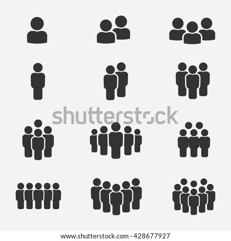 Business team icon vector set and group of people icons isolated on a white background. Crowd of people black silhouettes simple.
