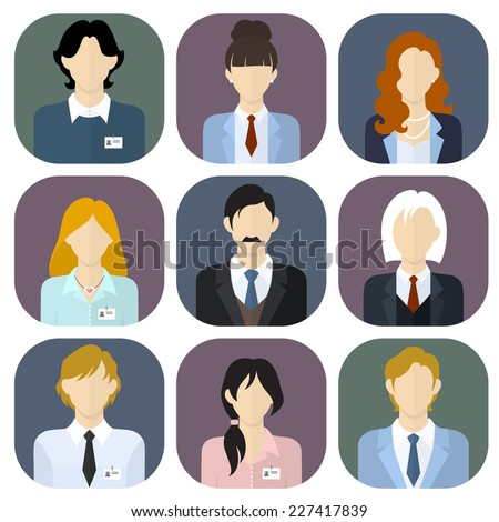 Business team icons set in flat style. Vector illustration