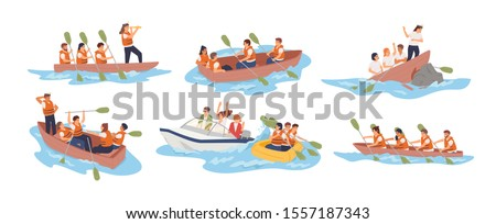 Business team in boat vector illustrations set. Teamwork, stuff cooperation concept. Different situations, joint problem solving. Business partnership metaphor. Boat teams isolated on white background