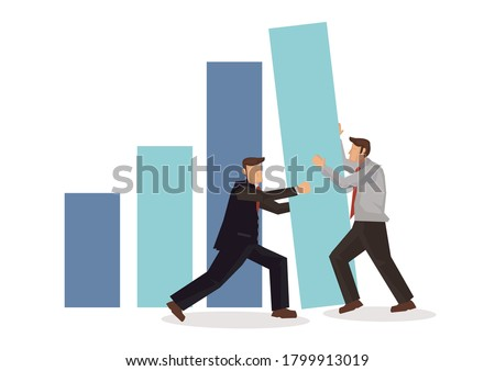 Business team is working together to achieve a growth. Flat cartoon character isolated vector illustration. Сток-фото ©