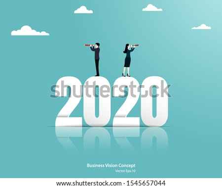 Business team leader vision ahead strategy for 2020 new year. Looking at to growth target, Achievement, Business concept, Vector illustration flat