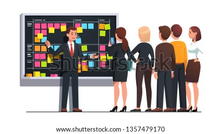 Business team man and woman planning work together discussing project schedule and managing tasks on SCRUM black board. Planner meeting teamwork and brainstorming. Flat vector character illustration