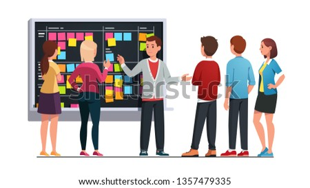 Business team man and woman planning work together discussing project schedule and managing tasks on SCRUM black board. Planner meeting breifing. Flat vector character illustration