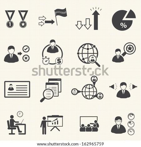 Business team management icons set
