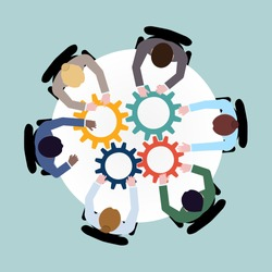 Business team meeting cooperation concept top view group people on table with cogwheels vector illustration