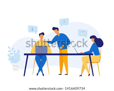 Business Team meeting, discussion concept, analysis, content strategy, management for banner and website. Vector illustration in flat style