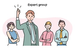 Business team members are posing confidently. hand drawn style vector design illustrations.