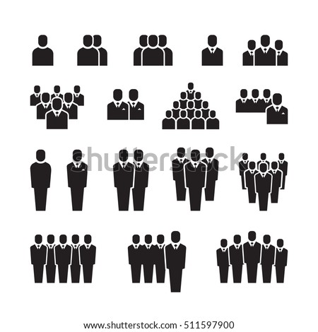 Business team, people silhouettes. Employee, group or crowd vector icons. Business workers staff signs