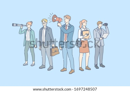 Business team, promotion, recruitment, focus group concept. Team of young businessmen, women clerks managers coworkers together. Office teamwork. Work of focus group. Financial promotion, recruitment. Сток-фото ©