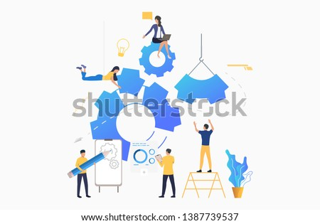 Business team putting in motion cogwheels. Teamwork, business operation, strategy. Project concept. Vector illustration can be used for presentation slide, posters, banners