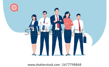 Business team ready to work. Business vector illustration template.