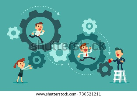 Business team running in set of gears mechanism. Cogwheels. Business teamwork concept.