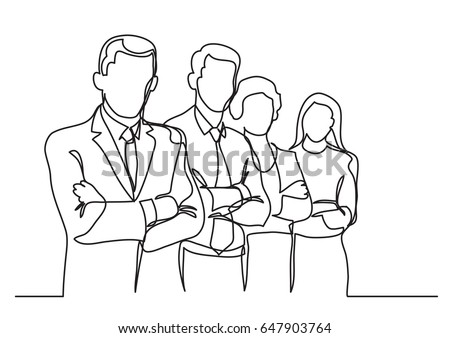 business team - single line drawing