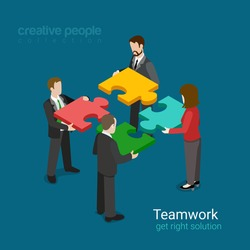 Business team solution in partnership concept flat 3d web isometric infographic vector. Four businessmen pushing pieces of puzzle. Creative people collection.