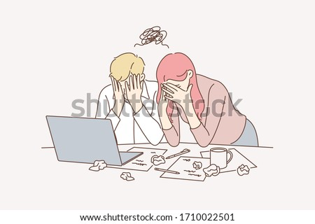 Business team, stress, depression, frustration, failure concept. Teamwork young businesspeople businessman woman coworkers cover faces in office together. Project failure.