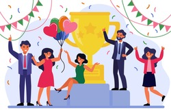Business team success concept. Group of happy employees celebrating victor. Business people getting reward cup, winning prize, enjoying party. Vector illustration for winners, trophy, champions topics