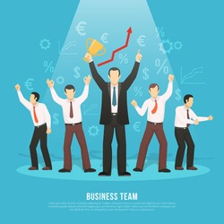 Business team success flat poster with manager holding winner prize and euro dollar profit symbols vector illustration