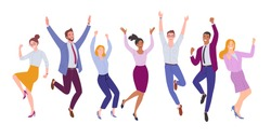Business team success. Vector illustration of happy, jumping cartoon men and women in office outfits. Isolated on white
