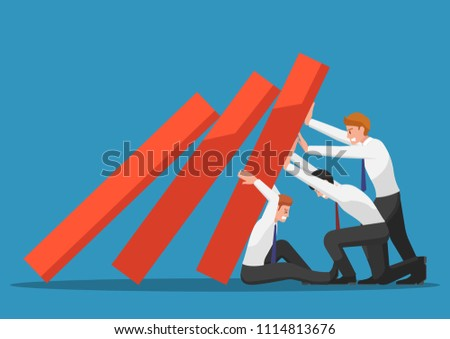 Business team try to stop falling graph. Business crisis and teamwork concept.