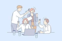 Business team, win coworking, success, goal achievement cooperation concept. Teamwork of group of people businessmen women clerks managers partners celebrate together. Team collaboration in office