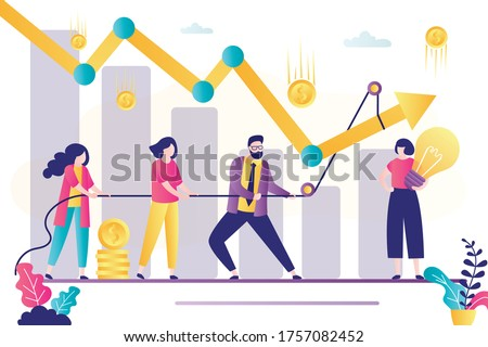 Business team with rope raise falling chart. Crisis management, increase in profit and income. Office people working together. Teamwork and brainstorming. Female employee with new idea. Flat vector Сток-фото ©