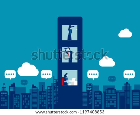 Business team with spying and analysis competitors. Concept business vector illustration, Binoculars, Partnership, Competitors , Flat business cartoon.