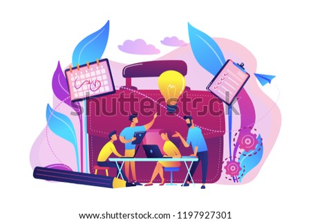 Business team work together with laptops and light bulb. Collaboration, collaborative problem solving and partnership concept on white background. Bright vibrant violet vector isolated illustration