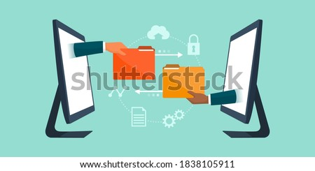 Business team working remotely and exchanging files online, data transfer tools concept Foto d'archivio ©