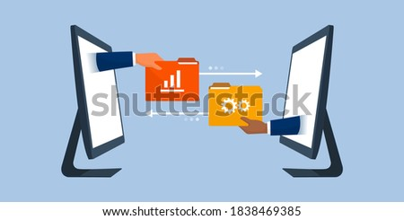 Business team working remotely and exchanging files online, data transfer tools concept Photo stock ©