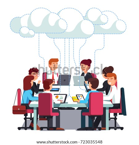 Business team working & talking together on IT startup business at big conference desk using wireless cloud computing service. Flat style vector illustration isolated on white background.