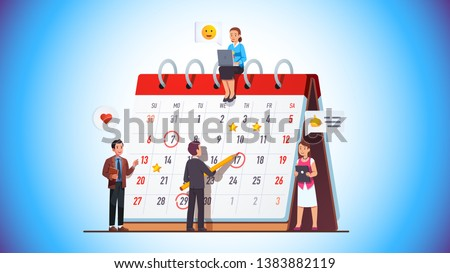 Business team working together planning scheduling week & month operations agenda making employee assignments on big spring desk calendar. Drawing day mark on planner meeting. Flat vector illustration