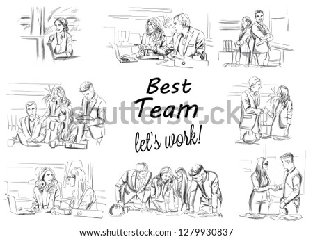 Business team working Vector storyboard. Business woman working on laptop. Team having a meeting Vector. Business projects. Storyboard digital template. Sketch style line art
