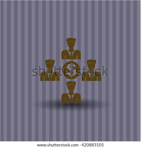 business teamwork and money icon vector symbol flat eps