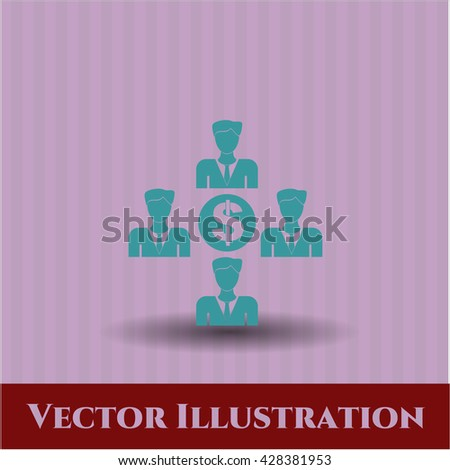 Business Teamwork and Money vector icon