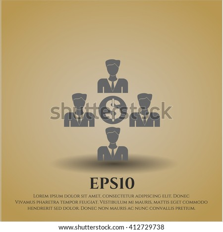 Business Teamwork and Money vector icon or symbol