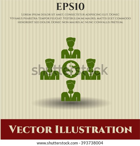 Business Teamwork and Money vector symbol