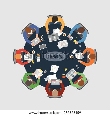 Business teamwork, business meeting and brainstorming. Vector flat design concept illustration