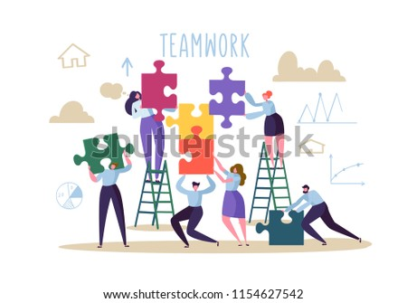 Business Teamwork Concept. Flat People Characters with Pieces of Puzzle. Partnership, Solution Cooperation. Vector illustration