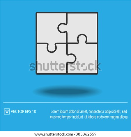 Business teamwork cooperation partnership vector icon EPS 10. Puzzle simple isolated sign.