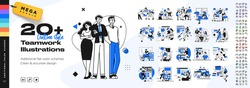 Business Teamwork illustrations. Mega set. Collection of scenes with men and women taking part in business activities. Trendy vector style