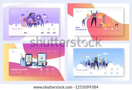 Business Teamwork Landing Page Template Set. Mobile Payment Concept. Leadership Character Design. Partnership Networking Cooperation for Website or Web Page. Flat Cartoon Vector Illustration