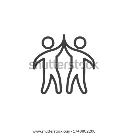 Business teamwork line icon. linear style sign for mobile concept and web design. Businessman giving high five to each other outline vector icon. Symbol, logo illustration. Vector graphics Photo stock ©