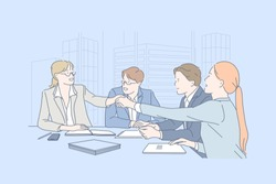 Business, teamwork, negotiation, agreement concept. Young people men, women or businessmen met to make decision together with lawyers and assistants at the office. Congress of detectors. Flat vector.