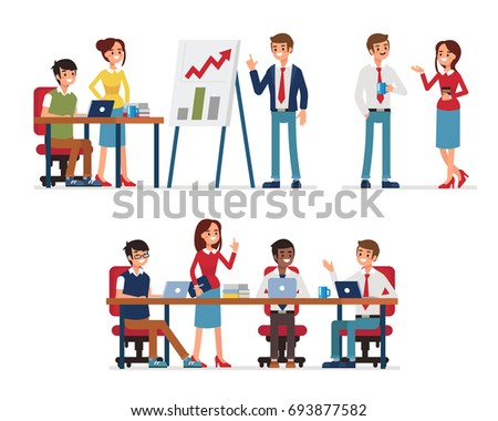 Business teamwork. Office work occupation moments. Flat style vector illustration isolated on white background.